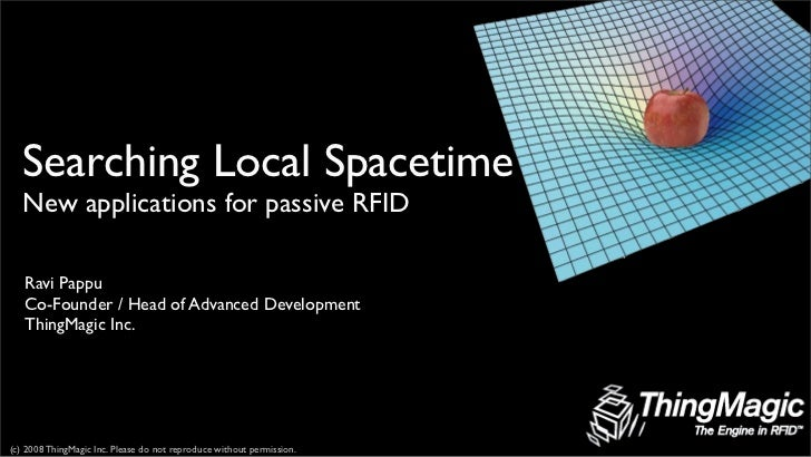 Searching Local Spacetime    New applications for passive RFID     Ravi Pappu    Co-Founder / Head of Advanced Development...