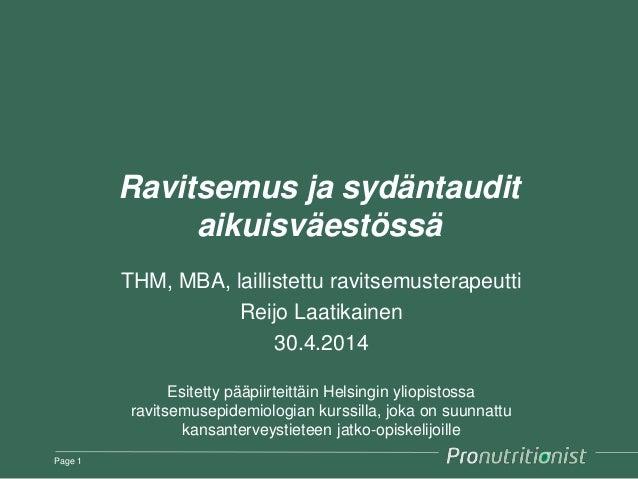 Ruokavalio ja sydän- ja verisuonisairaudet Suomessa