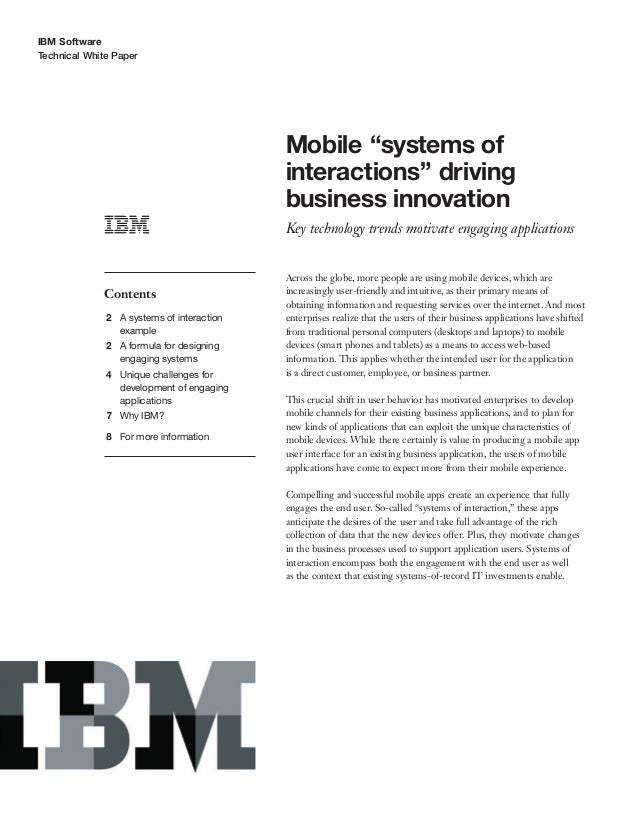 """IBM SoftwareTechnical White PaperMobile """"systems ofinteractions"""" drivingbusiness innovationKey technology trends motivate ..."""