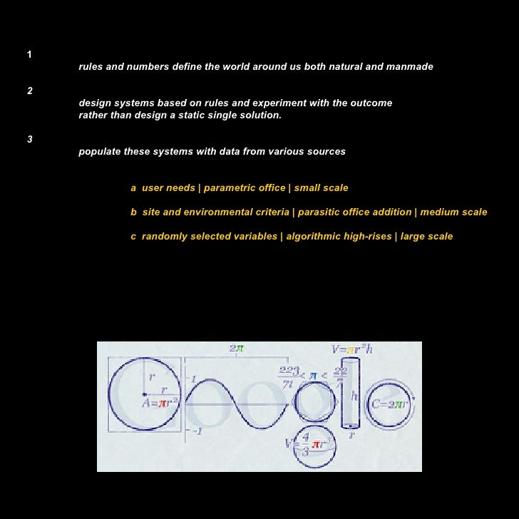 1 rules and numbers define the world around us both natural and manmade 2 design systems based on rules and experiment wit...