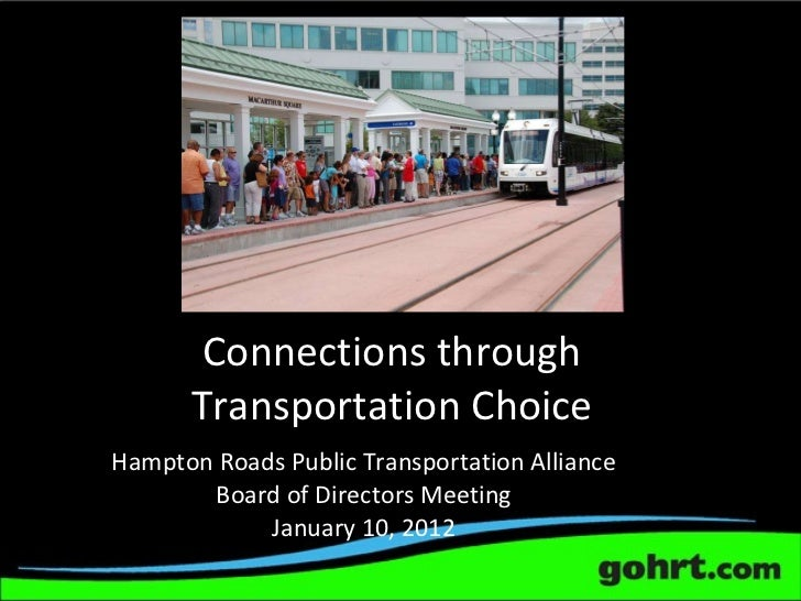 Connections through Transportation Choice Hampton Roads Public Transportation Alliance Board of Directors Meeting January ...