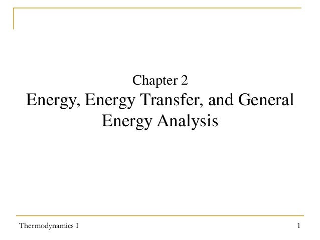 Chapter 2  Energy, Energy Transfer, and General Energy Analysis  Thermodynamics I  1