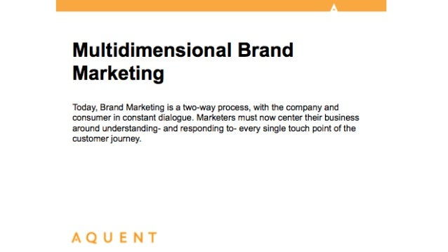 Aquent/AMA Webcast: Multidimensional Brand Marketing