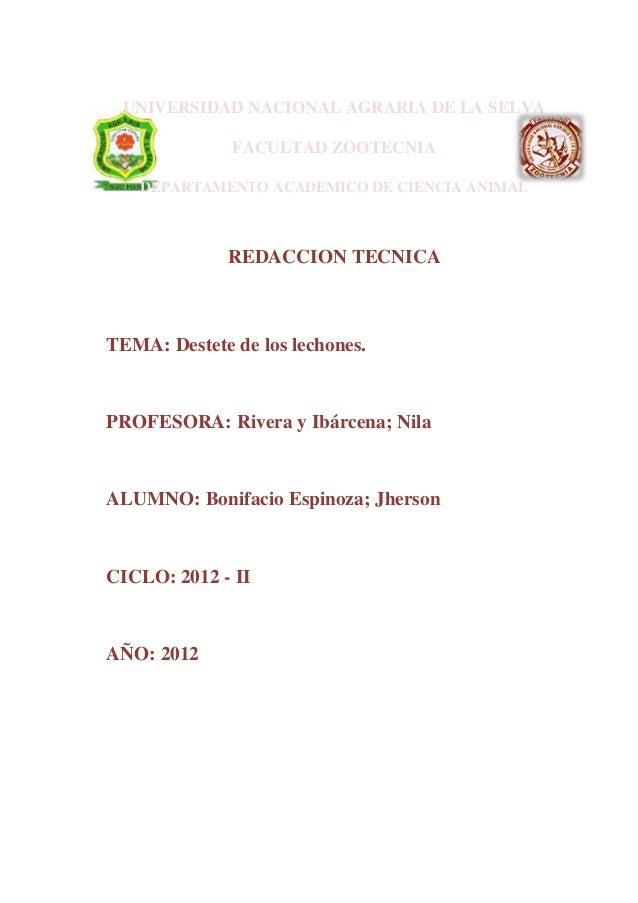 UNIVERSIDAD NACIONAL AGRARIA DE LA SELVA              FACULTAD ZOOTECNIA   DEPARTAMENTO ACADEMICO DE CIENCIA ANIMAL       ...