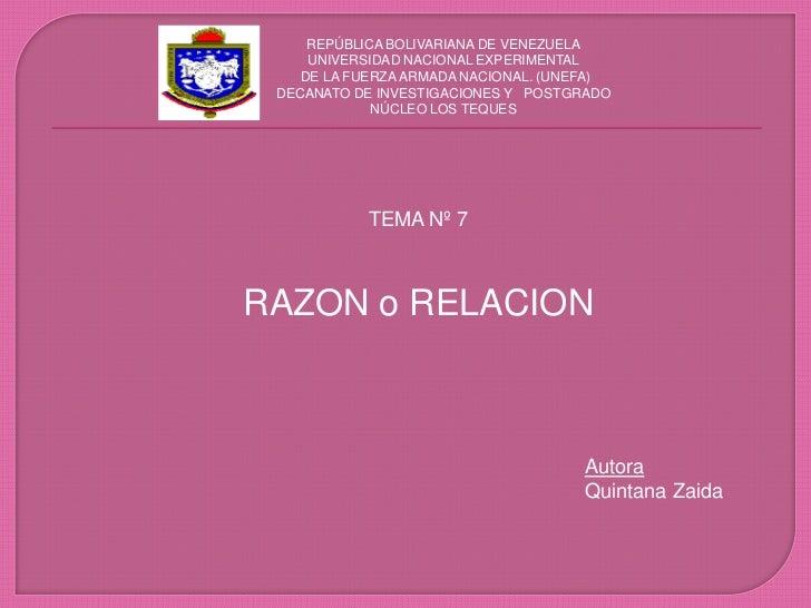 REPÚBLICA BOLIVARIANA DE VENEZUELA<br />UNIVERSIDAD NACIONAL EXPERIMENTAL <br /> DE LA FUERZA ARMADA NACIONAL. (UNEFA)<br ...