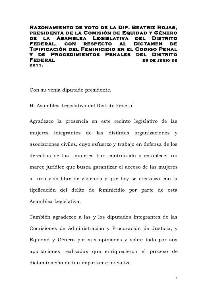 Razonamiento de voto de la Dip. Beatriz Rojas,presidenta de la Comisión de Equidad y Génerode la Asamblea Legislativa del ...