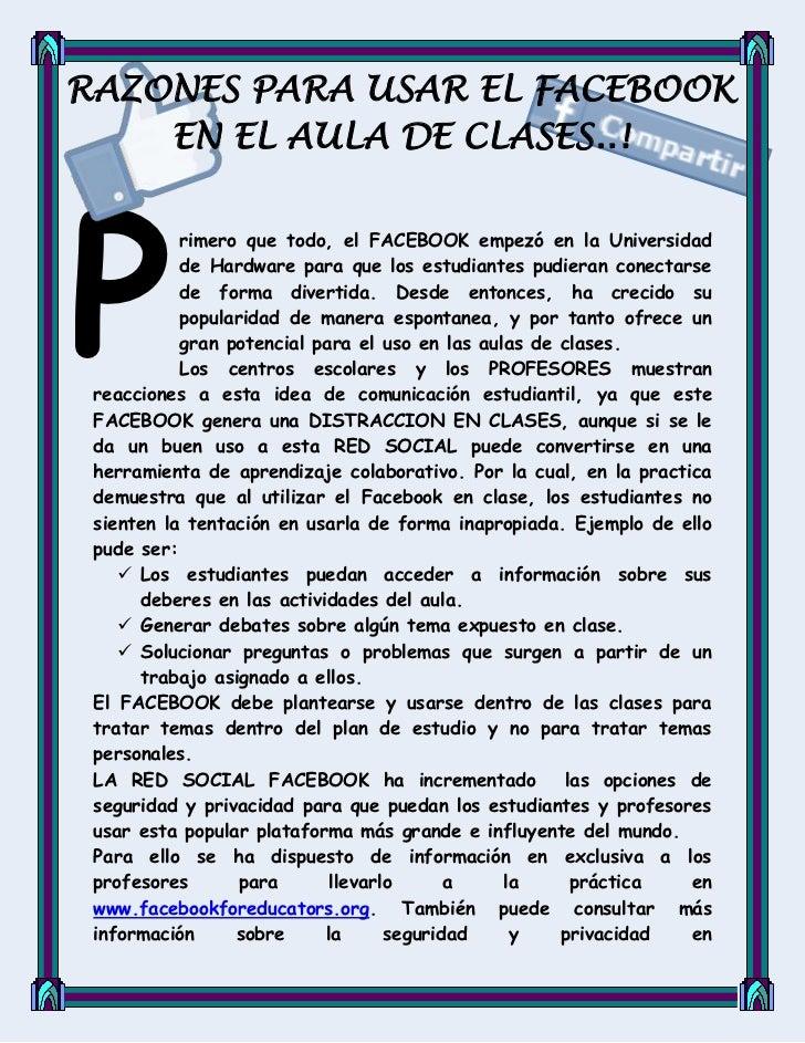 Razones para utilizar el facebook en el aula de clases 5