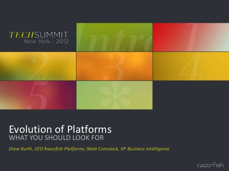 Evolution of PlatformsWHAT YOU SHOULD LOOK FORDrew Kurth, CEO Razorfish Platforms; Matt Comstock, VP Business Intelligence