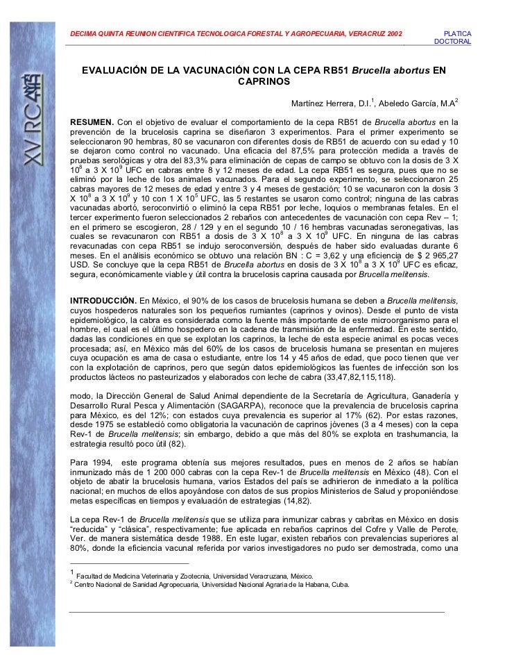 DECIMA QUINTA REUNION CIENTIFICA TECNOLOGICA FORESTAL Y AGROPECUARIA, VERACRUZ 2002                               PLATICA ...