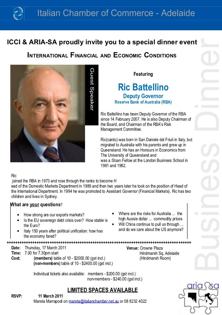 ICCI & ARIA-SA proudly invite you to a special dinner event           INTERNATIONAL FINANCIAL AND ECONOMIC CONDITIONS     ...