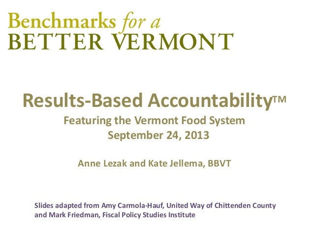 Results-Based AccountabilityTM Featuring the Vermont Food System September 24, 2013 Anne Lezak and Kate Jellema, BBVT Slid...