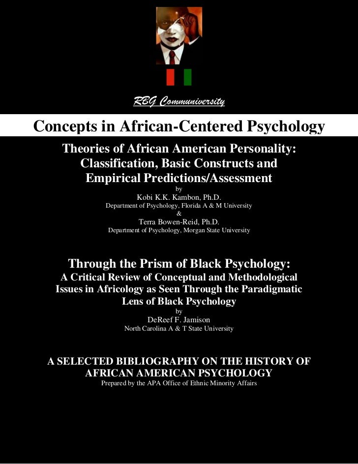 RBG Communiversity Concepts in African-Centered Psychology, Two Pivotal Essays