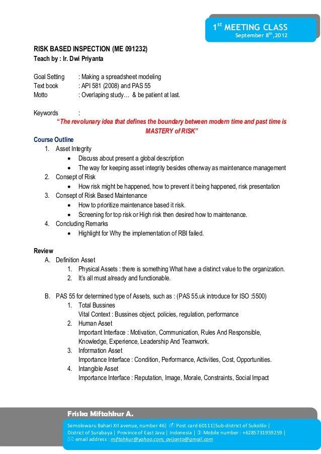 1st MEETING CLASS September 8th ,2012 Friska Miftahkur A. Semolowaru Bahari XII avenue, number 46   Post card 60111 Sub-d...