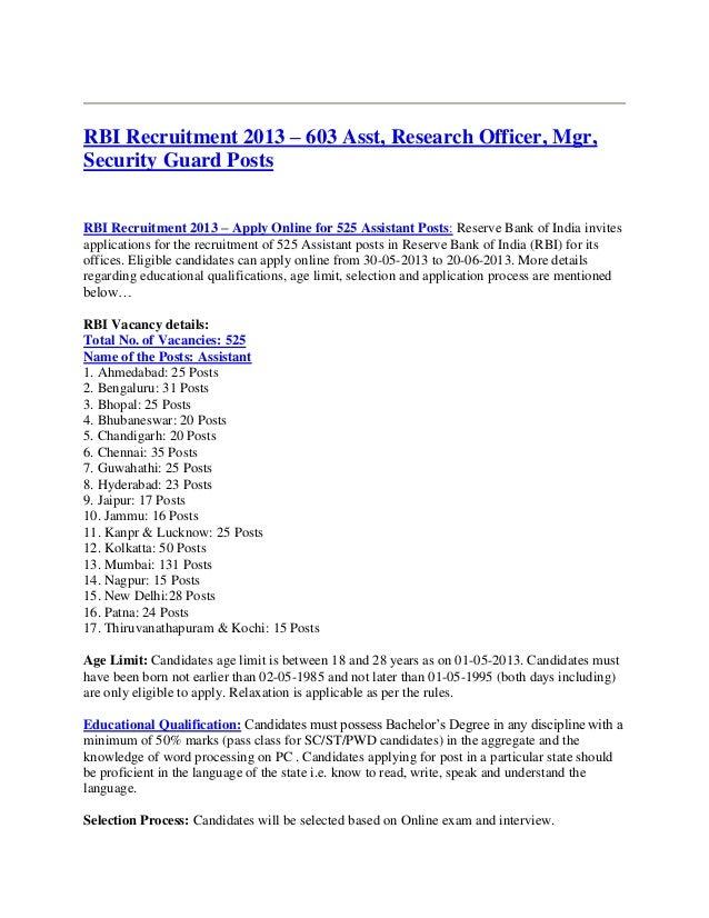 RBI Recruitment 2013 – 603 Asst, Research Officer, Mgr,Security Guard PostsRBI Recruitment 2013 – Apply Online for 525 Ass...