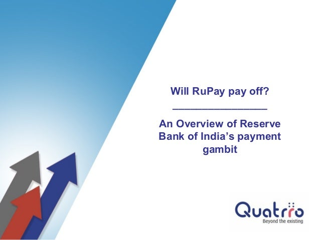 Will RuPay pay off?  ________________An Overview of ReserveBank of India's payment         gambit