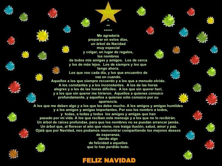 * ** ***** Me agradaría preparar en estos días, un árbol de Navidad muy especial y colgar, en lugar de regalos, los nombre...