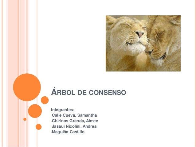 ÁRBOL DE CONSENSO Integrantes: -Calle Cueva, Samantha -Chirinos Granda, Aimee -Jasaui Nicolini. Andrea -Maguiña Castillo