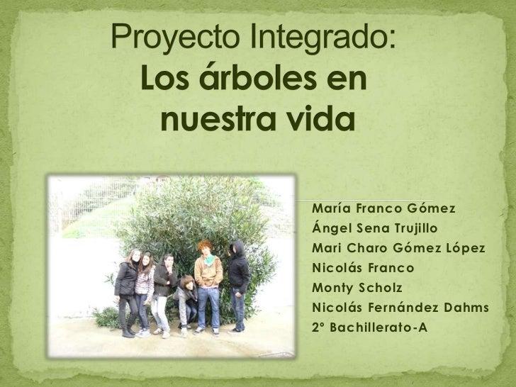Proyecto Integrado:Los árboles en nuestra vida <br />María Franco Gómez<br />Ángel Sena Trujillo<br />Mari Charo Gómez Lóp...