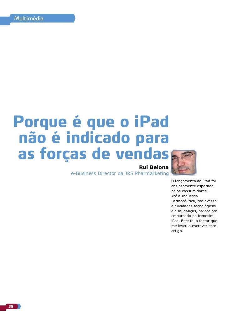 Porque é que o iPad não é indicado para as Forças de Vendas (Pharma)
