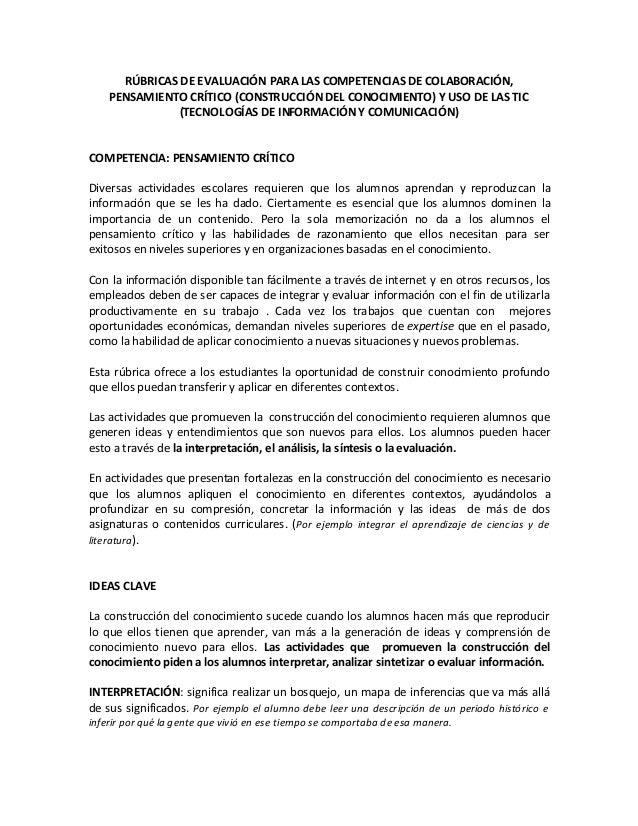 RÚBRICAS DE EVALUACIÓN PARA LAS COMPETENCIAS DE COLABORACIÓN,    PENSAMIENTO CRÍTICO (CONSTRUCCIÓN DEL CONOCIMIENTO) Y USO...
