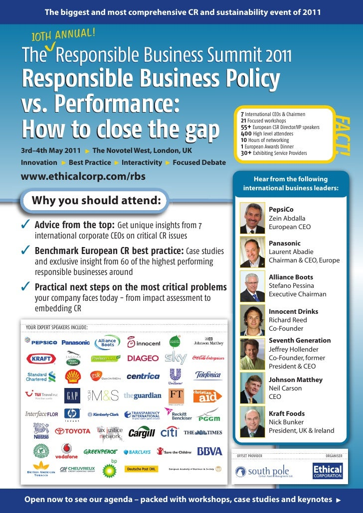 The biggest and most comprehensive CR and sustainability event of 2011             L!   10TH ANNUA         VThe Responsibl...