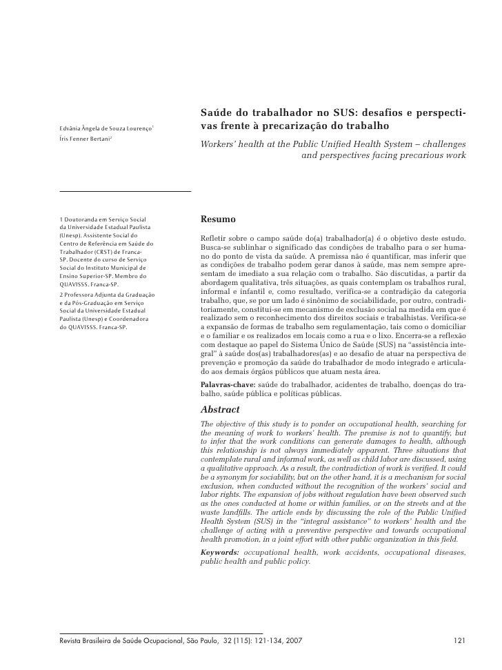 Saúde do trabalhador no SUS: desafios e perspecti-Edvânia Ângela de Souza Lourenço1          vas frente à precarização do ...