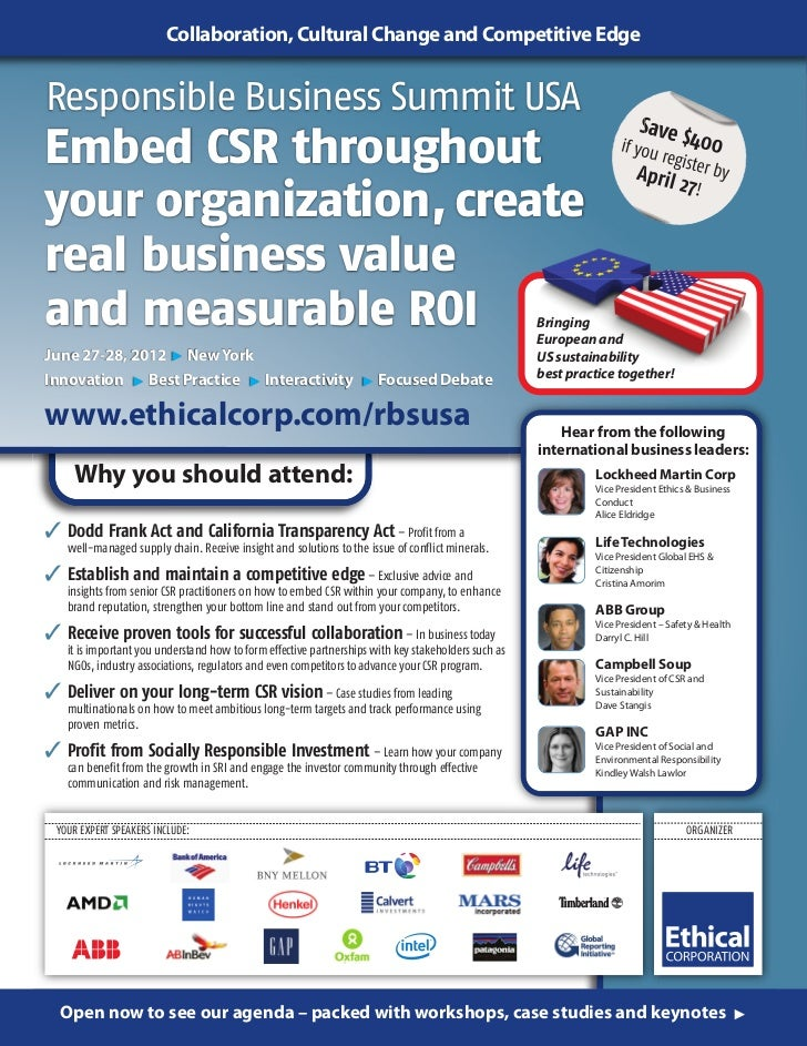 Collaboration, Cultural Change and Competitive EdgeResponsible Business Summit USA                                        ...