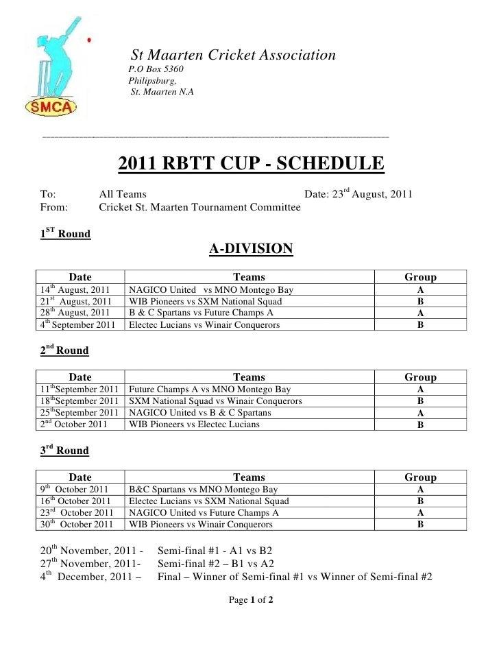 Rbtt 2011 tournament schedule