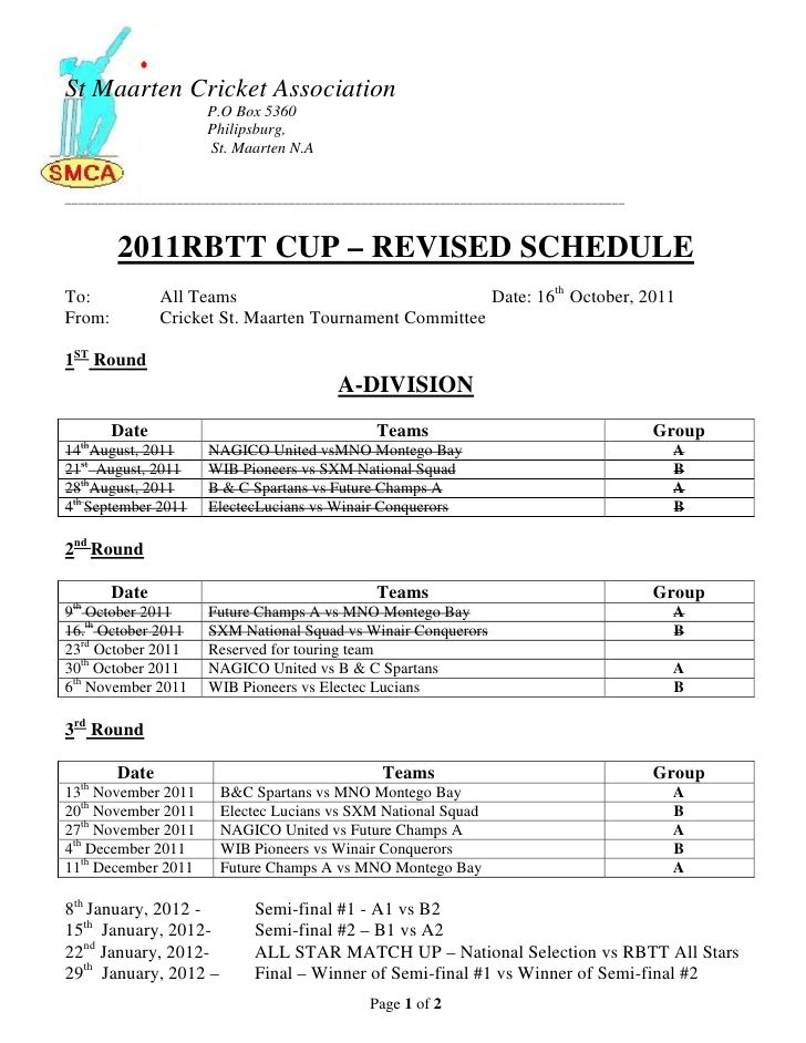 Rbtt 2011 tournament schedule revised october