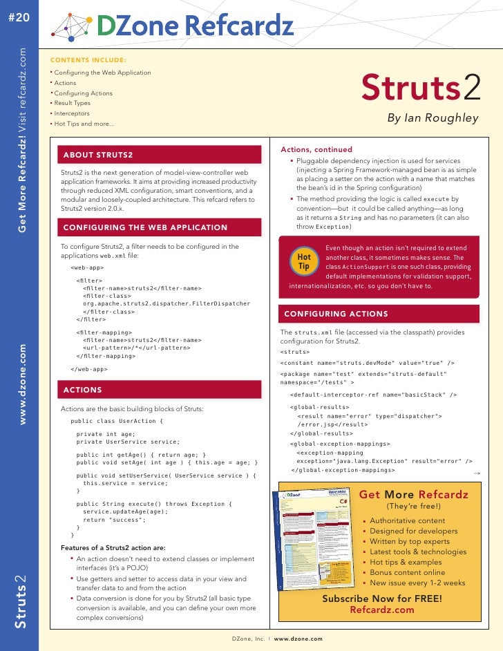 DZONE Struts2 reference card