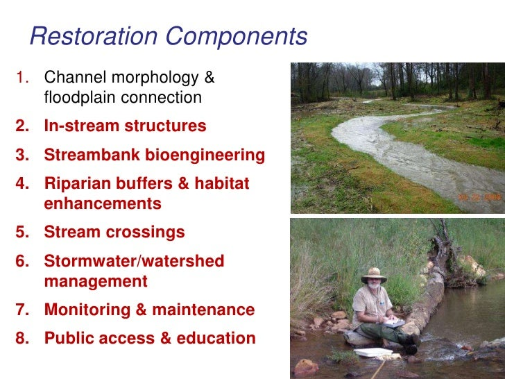 Restoration Components<br />Channel morphology & floodplain connection<br />In-stream structures<br />Streambank bioengine...