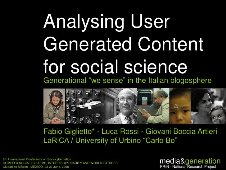 Analysing User                      Generated Content                      for social science                      Generat...
