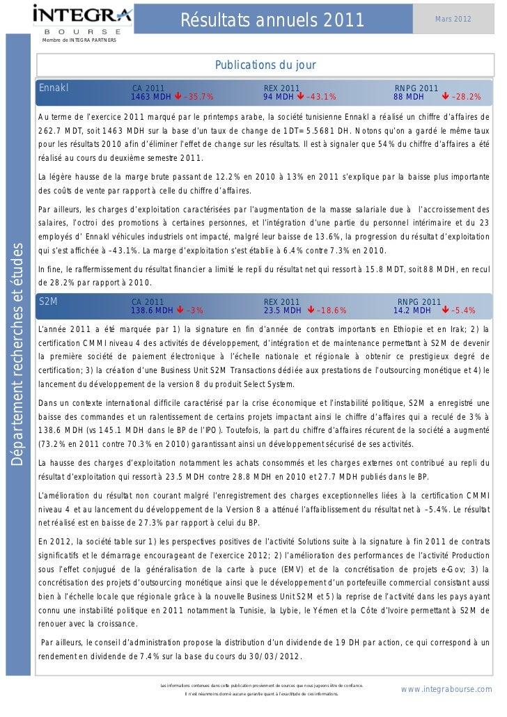 Récapitulatif des résultats 2011 des sociétes cotées à la bourse de casablanca ( integra ) 20120331