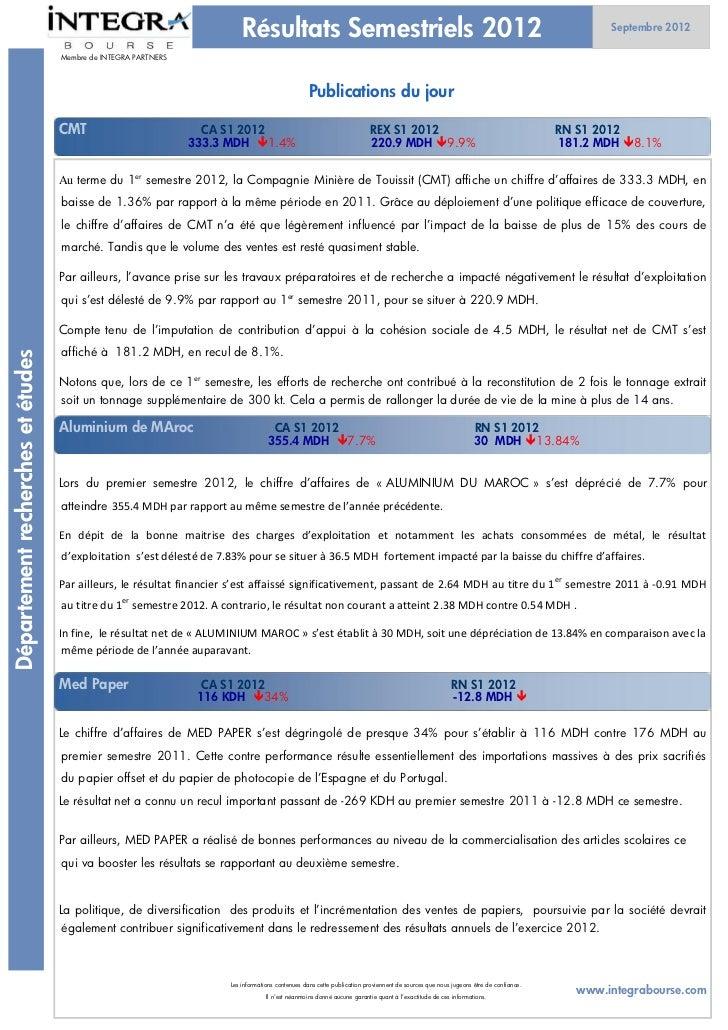 Résultats Semestriels 2012                                                                                        Septembr...