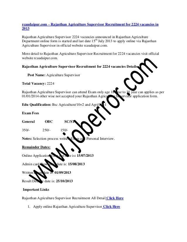 Rcaudaipur.com – rajasthan agriculture supervisor recruitment for 2224 vacancies in 2013
