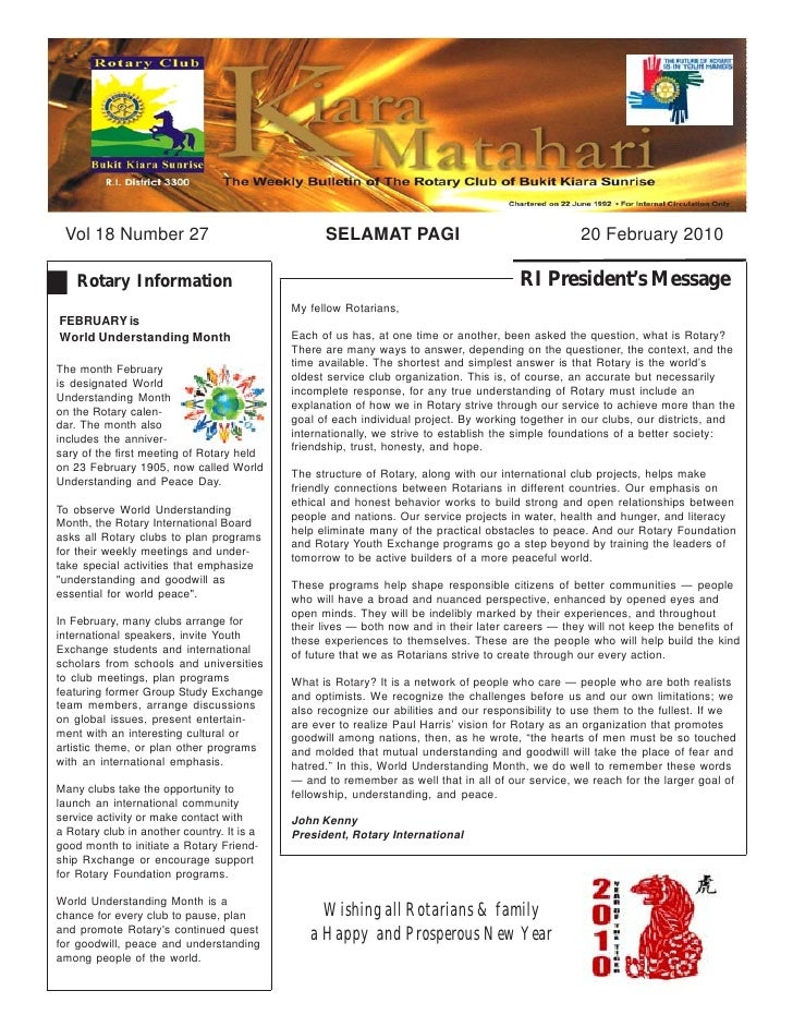 Vol 18 Number 27                                 SELAMAT PAGI                                     20 February 2010      Ro...