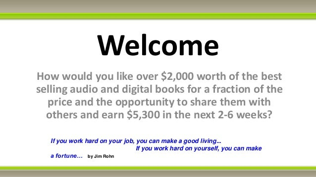 WelcomeHow would you like over $2,000 worth of the bestselling audio and digital books for a fraction of the  price and th...