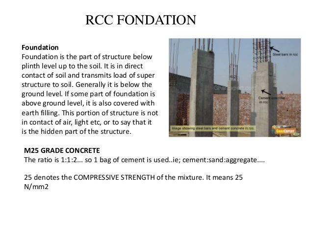 RCC FONDATION Foundation Foundation is the part of structure below plinth level up to the soil. It is in direct contact of...