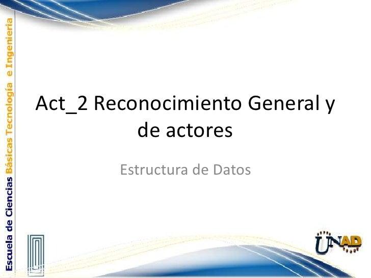 Act_2 Reconocimiento General y de actores<br />Estructura de Datos<br />