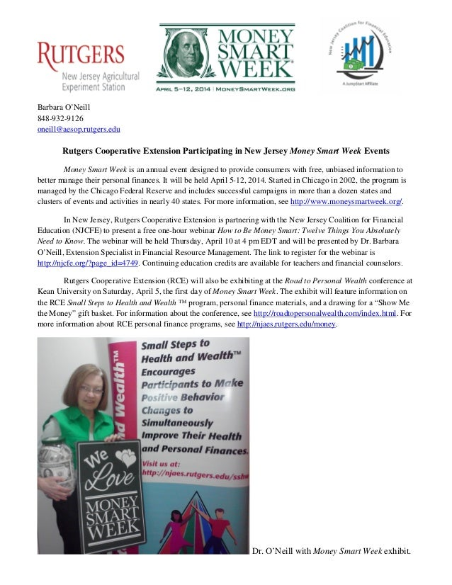 Rutgers Cooperative Extension Money Smart Week Press Release 03-14