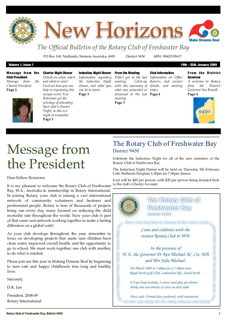 New Horizons                         The Official Bulletin of the Rotary Club of Freshwater Bay                            ...