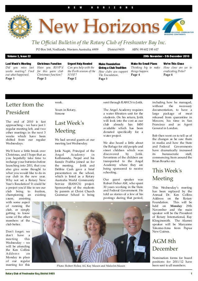 N E W H O R I Z O N S Rotary Club of Freshwater Bay, District 9455  1 New Horizons The Official Bulletin of the Rotary Club...