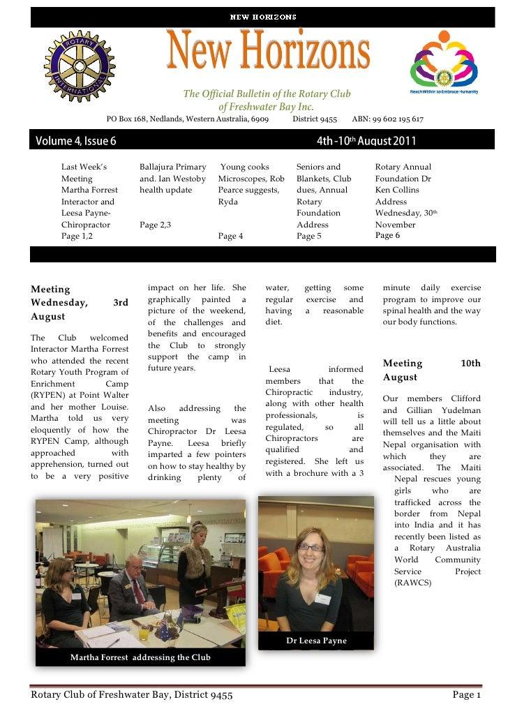 PO Box 168, Nedlands, Western Australia, 6909      District 9455       ABN: 99 602 195 617       Last Week's          Ball...