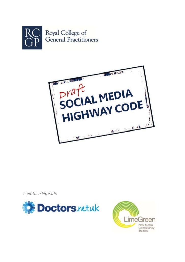 RCGP Social Media Highway Code Draft For Discussion