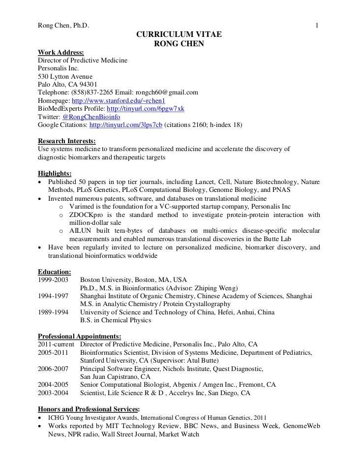 CV of Rong Chen