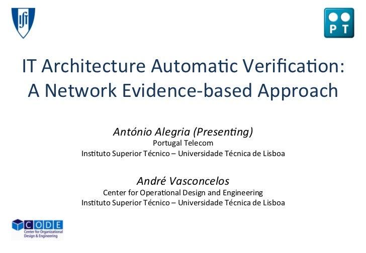 IT Architecture Automatic Verification (RCIS 2010)