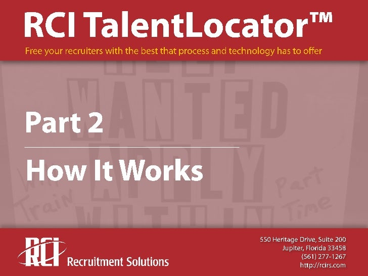 RCI TalentLocator Overview, Part 2- How It Works