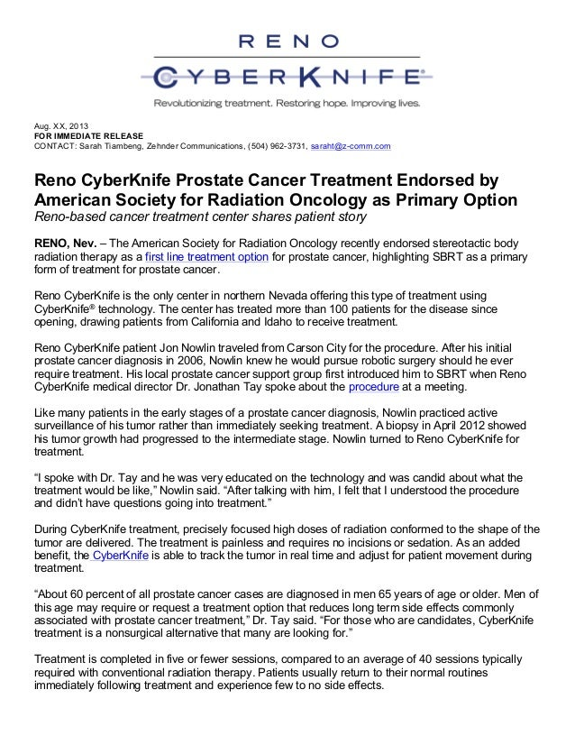 Reno CyberKnife Prostate Cancer Treatment Endorsed by American Society for Radiation Oncology as Primary Option