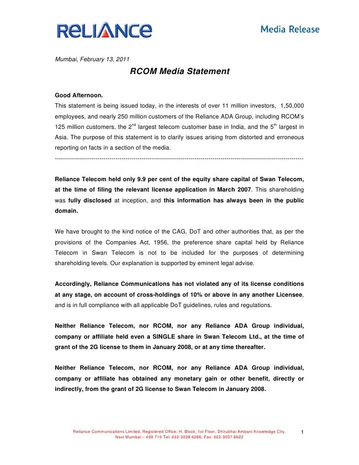 Rcom (Reliance Telecom) media statement leak