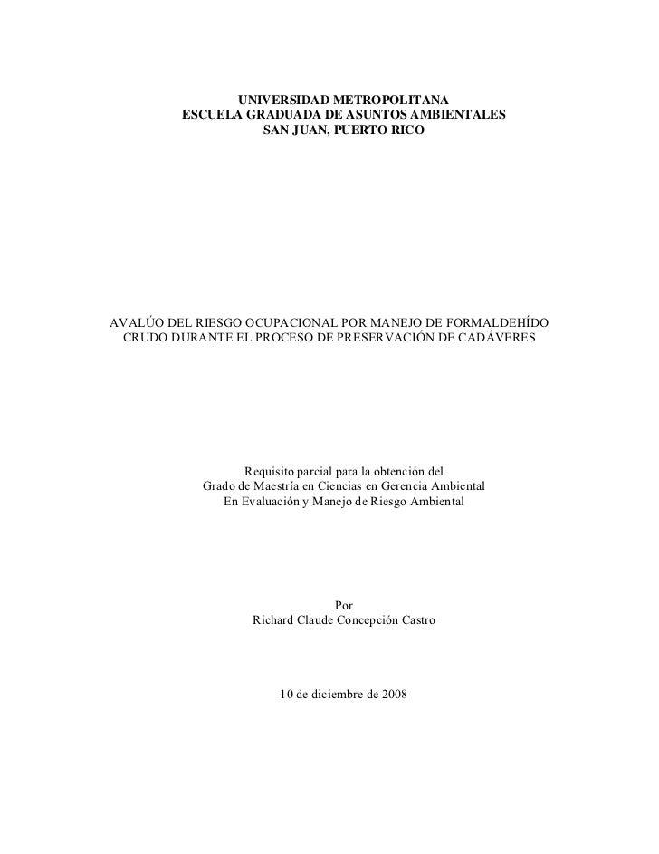 UNIVERSIDAD METROPOLITANA         ESCUELA GRADUADA DE ASUNTOS AMBIENTALES                   SAN JUAN, PUERTO RICOAVALÚO DE...